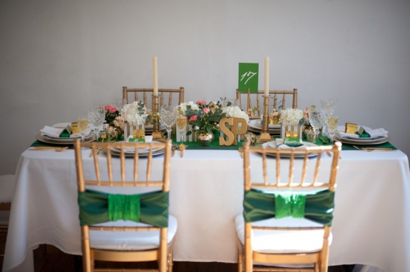 Green and gold Styled Engagement Shoot Styled by: Shannon Qualls at Parties and PottyTraining, Photography by: Jasmine Nicole Photography, Flowers by Amy Balsters of Amy Nicole Floral Studio