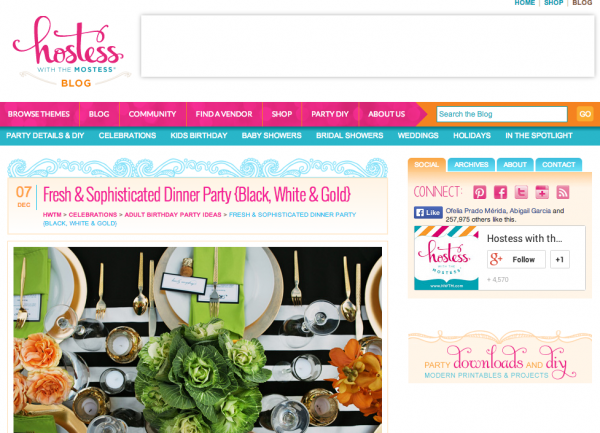 Featured on Hostess with the Mostess – Black, White, and Gold Dinner Party