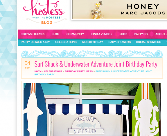 Featured on Hostess with the Mostess – Surf Shack Party
