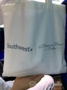 Swag Bag from Southwest for the Diner en Blanc Dallas SW bus from shannonqualls.com