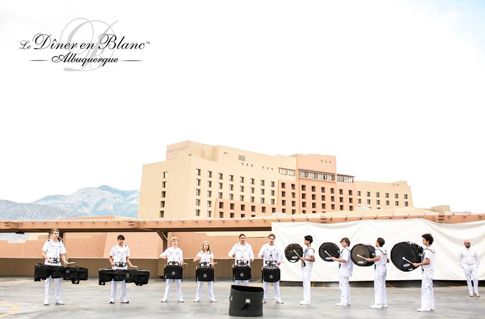 Guests walked up to the sight and sounds of a drum line for the 4th edition of Diner en Blanc in Albuquerque- Photo courtesy of DEB ABQ from shannonqualls.com