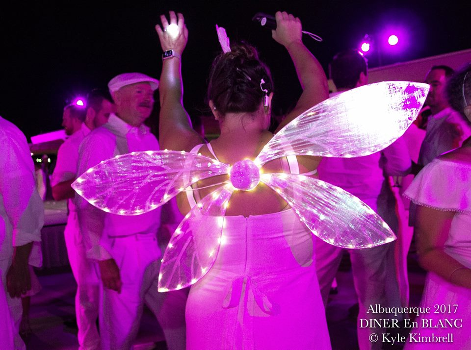After dark light up wings for Diner en Blanc- Photo Courtesy of Kyle Kimbrell Photography from shannonqualls.com