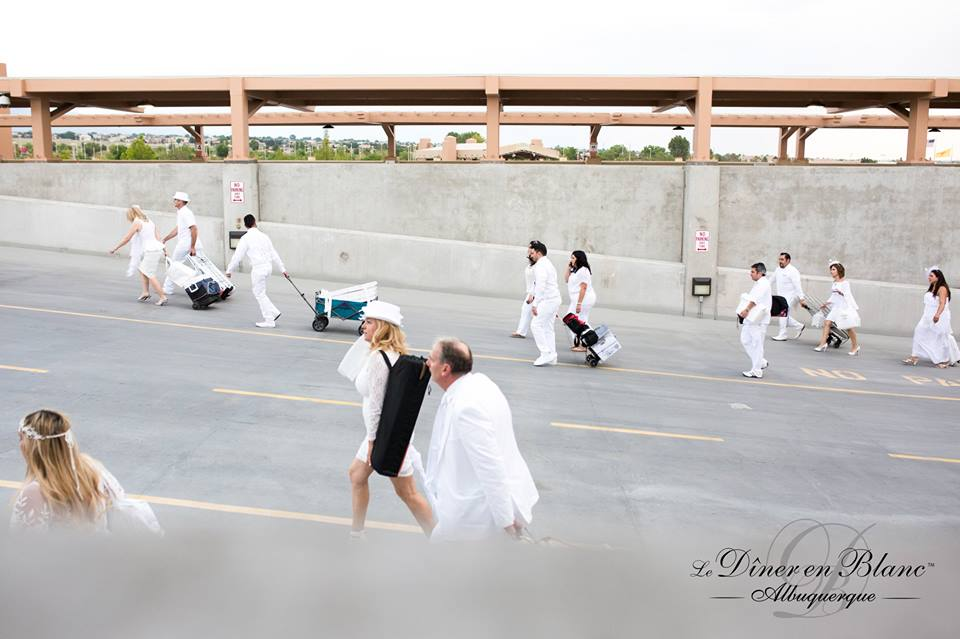 Hiking up the stairs to get to Diner en Blanc Albuquerque picture courtesy of DEB ABQ from shannonqualls.com